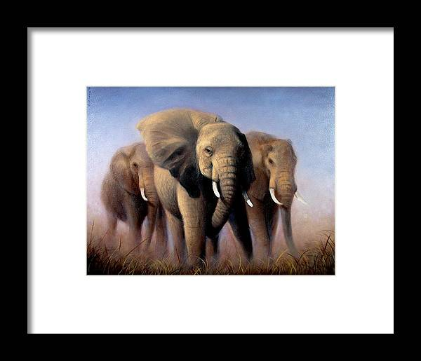 Realism Framed Print featuring the painting Tusks by Donelli DiMaria