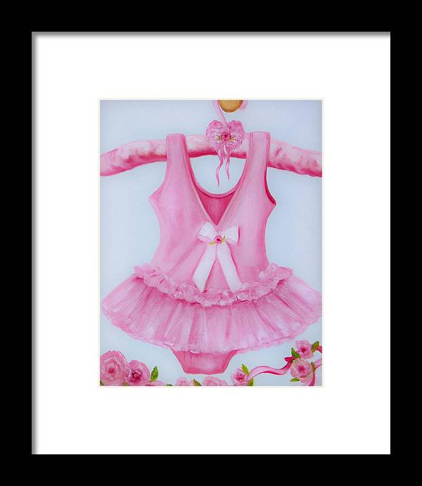 Oil Framed Print featuring the painting Tutu With Ribbon by Joni McPherson