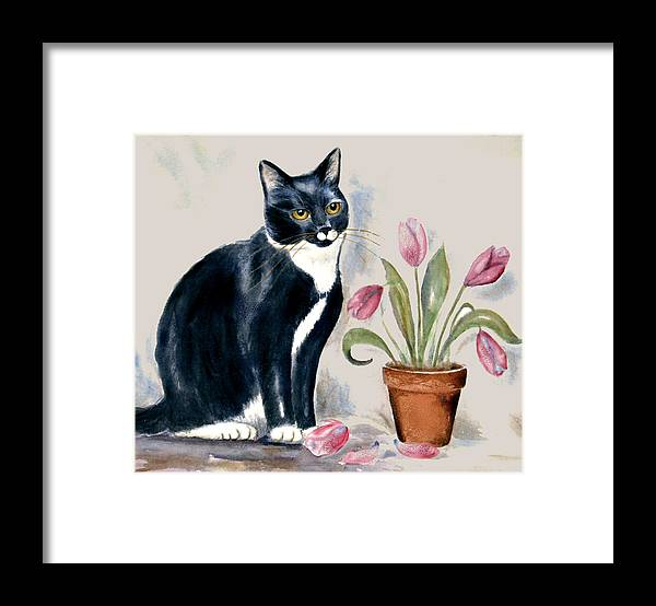 Cat Framed Print featuring the painting Tuxedo Cat Sitting By The Pink Tulips by Frances Gillotti