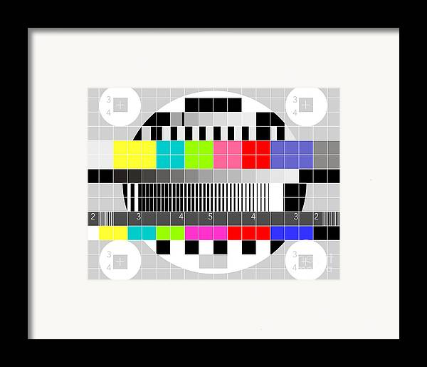 Television Framed Print featuring the digital art Tv Multicolor Signal Test Pattern by Aloysius Patrimonio