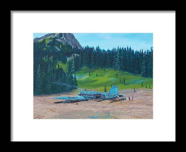 Landscape / Dc-3 Airplane Framed Print featuring the painting Twa Mountaintop Cabin by Gene Ritchhart