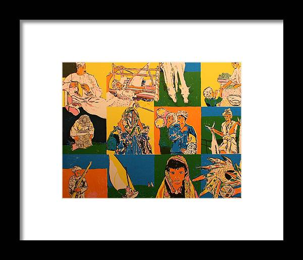 Framed Print featuring the painting Twelve Scened From Middle East by Biagio Civale