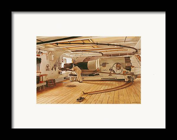 Twenty-seven Framed Print featuring the painting Twenty-seven Pound Cannon On A Battleship by Gustave Bourgain