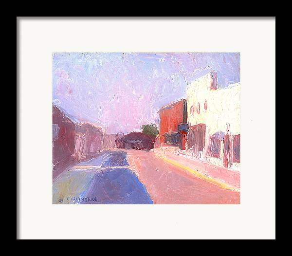 Landscape Framed Print featuring the painting Twentyfirst Street Early Am by Timothy Chambers