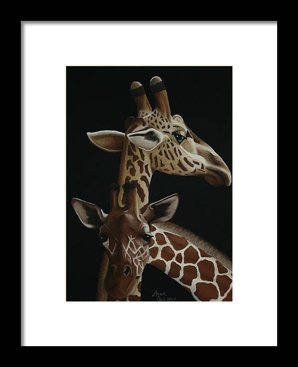 Giraffe Framed Print featuring the pastel Twiga by Amanda Clark
