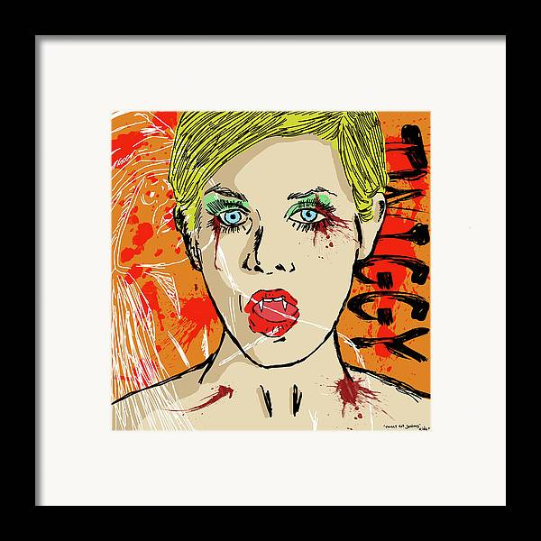 Portrait Framed Print featuring the drawing Twiggy Got Jealous by Sean King