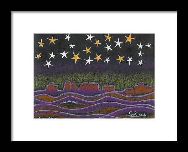 Sky Framed Print featuring the drawing Twighlight Over Arizona Horizon by Ingrid Szabo
