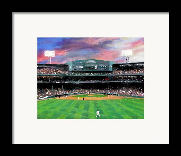 Baseball Framed Print featuring the painting Twilight At Fenway Park by Jack Skinner