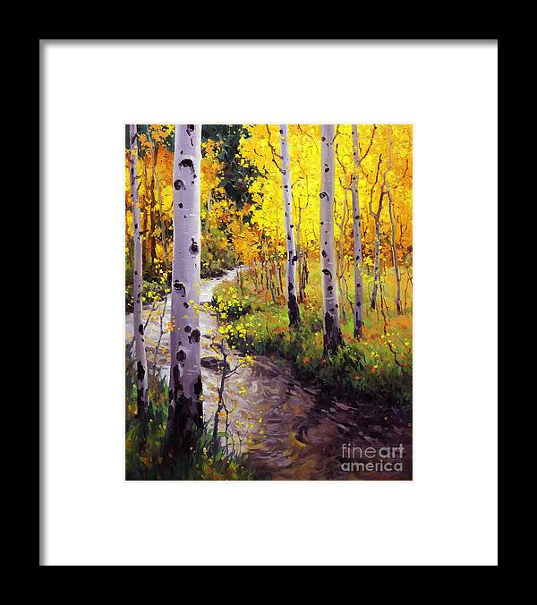 Twilight Glow Over Aspen Mountains Landscape Scenic Nature Fall Sky Aspen Trees Fall Foliage Framed Print featuring the painting Twilight Glow Over Aspen by Gary Kim