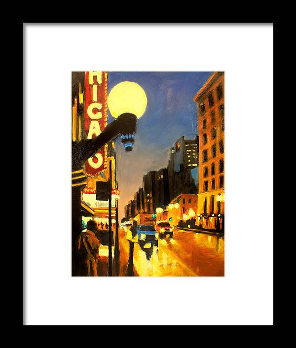 Rob Reeves Framed Print featuring the painting Twilight In Chicago - The Watcher by Robert Reeves