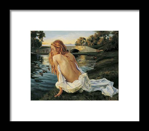 Young Framed Print featuring the painting Twilight Reflection by Jean Hildebrant