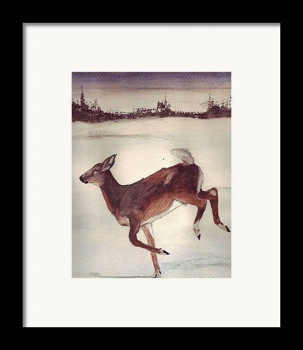 Whitetail Deer Framed Print featuring the painting Twilight Run by Debra Sandstrom