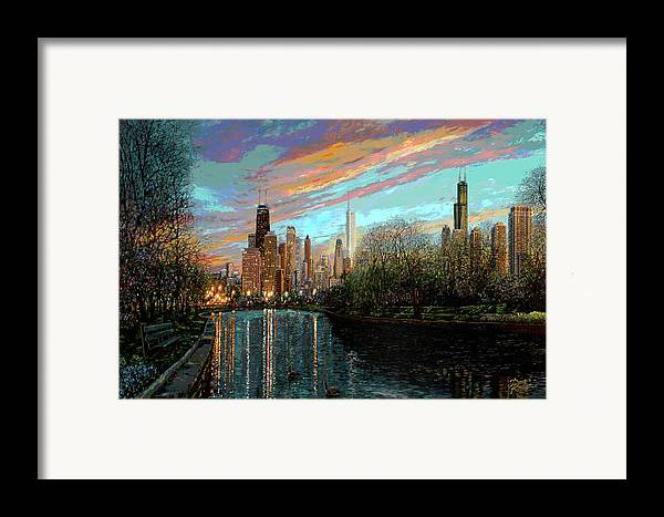 City Framed Print featuring the painting Twilight Serenity II by Doug Kreuger