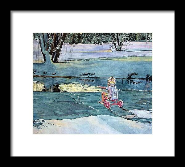 Children Framed Print featuring the painting Twilight by Valerie Patterson