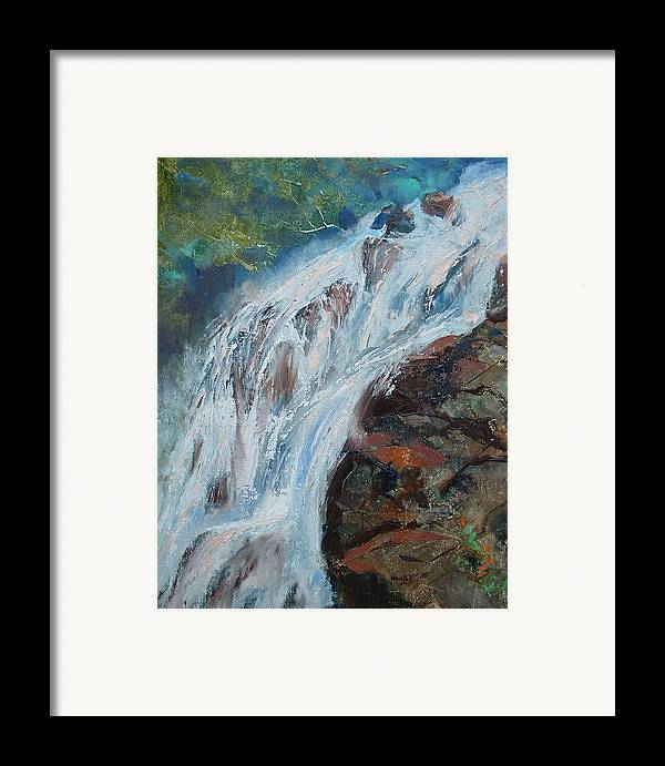 Waterfalls Framed Print featuring the painting Twin Falls Cascade by Bryan Alexander