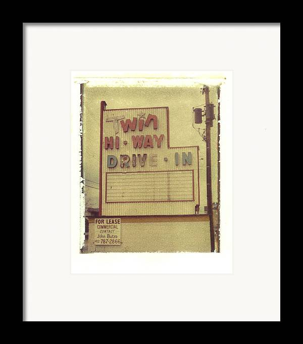 Polaroid Framed Print featuring the photograph Twin Hi-way Drive-in Sign by Steven Godfrey