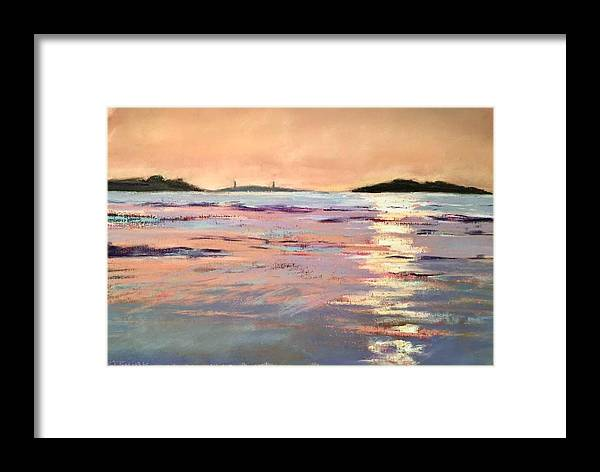 Lighthouse Framed Print featuring the pastel Twin Lights by Sandi Graham