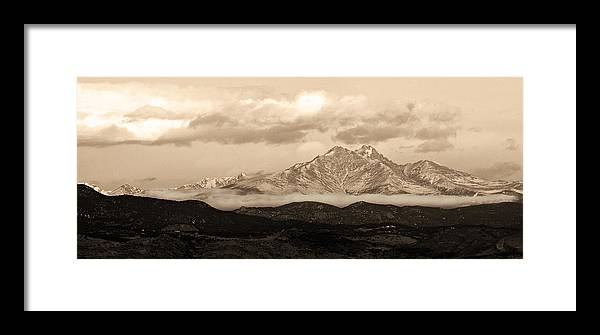 Twin Peaks Framed Print featuring the photograph Twin Peaks Sepia Panorama by James BO Insogna