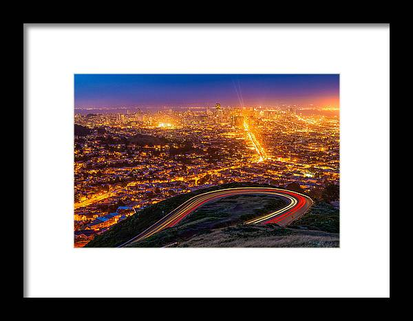 California Framed Print featuring the photograph Twin Peaks Twilight by Ryan Moyer