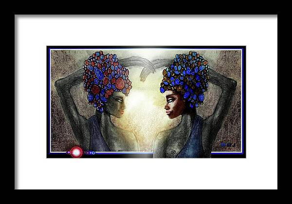 Sisters Framed Print featuring the drawing Twin Sisters by Hartmut Jager