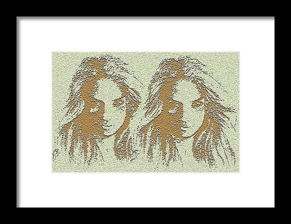 Twins Framed Print featuring the digital art Twins 2 by Alan Pickersgill