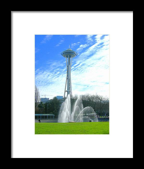 Space Needle Framed Print featuring the photograph Twirling Water by Maro Kentros