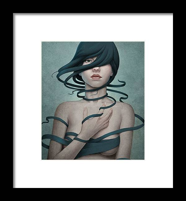 Woman Framed Print featuring the digital art Twisted by Diego Fernandez