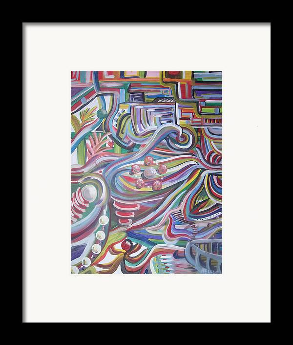 Abstract Framed Print featuring the painting Twisted by Hollie Leffel