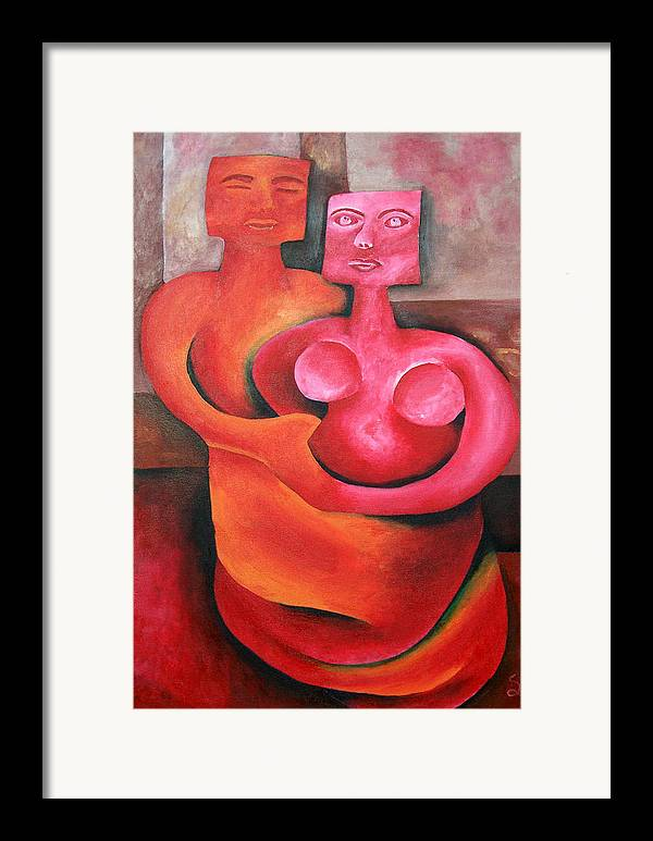 Vivid Contemporary Abstract Framed Print featuring the painting Twisted Love by Shasta Miller