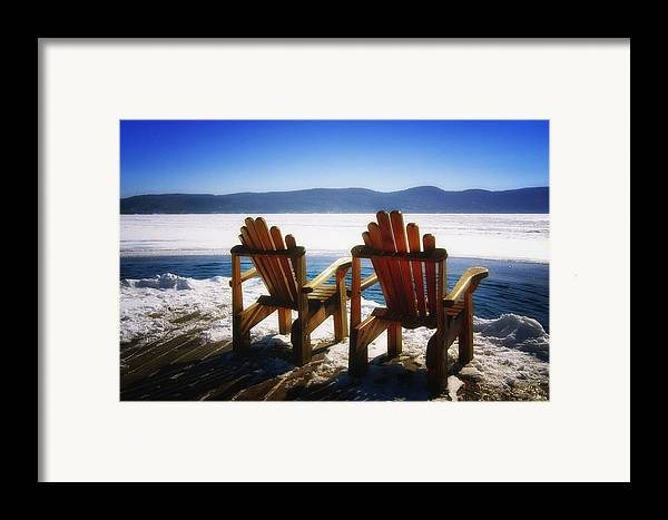 Landscape Framed Print featuring the photograph Two Adirondack Chairs by George Oze