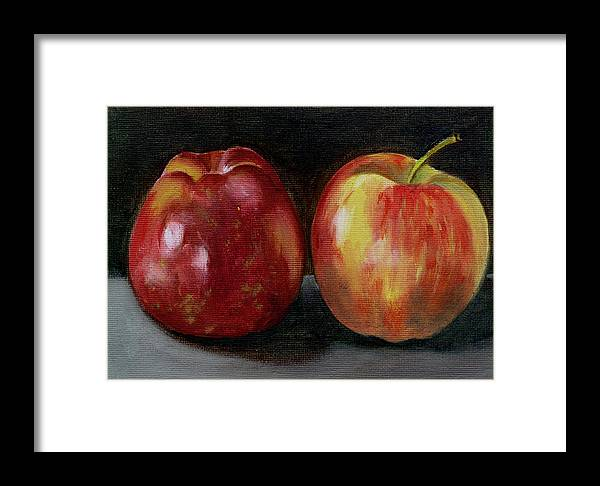 Oil Framed Print featuring the painting Two Apples by Sarah Lynch