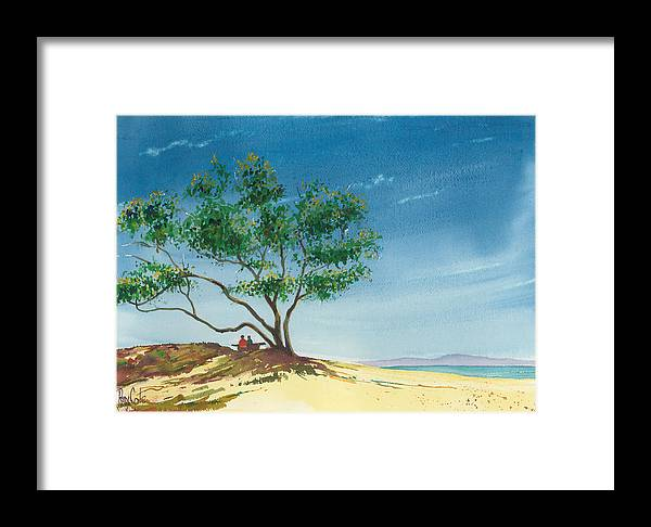 Picnic At The Beach Framed Print featuring the painting Two At The Beach by Ray Cole