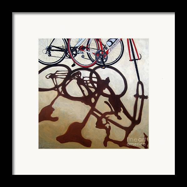 Two Bicycles Framed Print featuring the painting Two Bicycles by Linda Apple