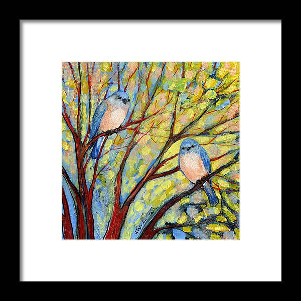 Bird Framed Print featuring the painting Two Bluebirds by Jennifer Lommers