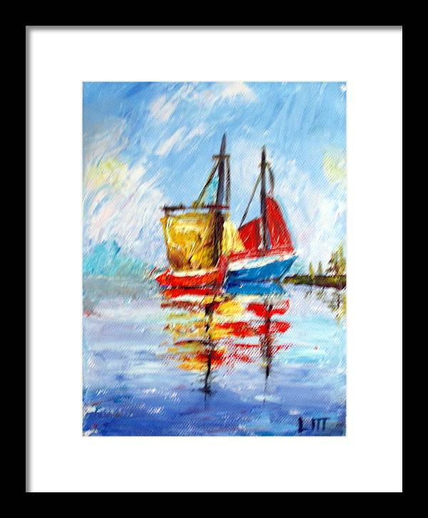 Water Framed Print featuring the painting Two Boats by Lia Marsman