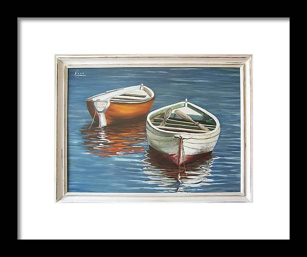 Boats Reflection Seascape Water Boat Sea Ocean Framed Print featuring the painting Two Boats by Natalia Tejera