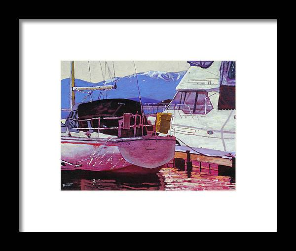 Boat Framed Print featuring the painting Two Boats by Robert Bissett