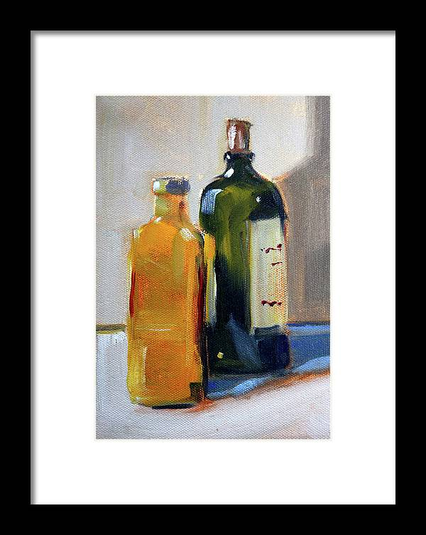 Glass Bottles Still Life Framed Print featuring the painting Two Bottles by Nancy Merkle
