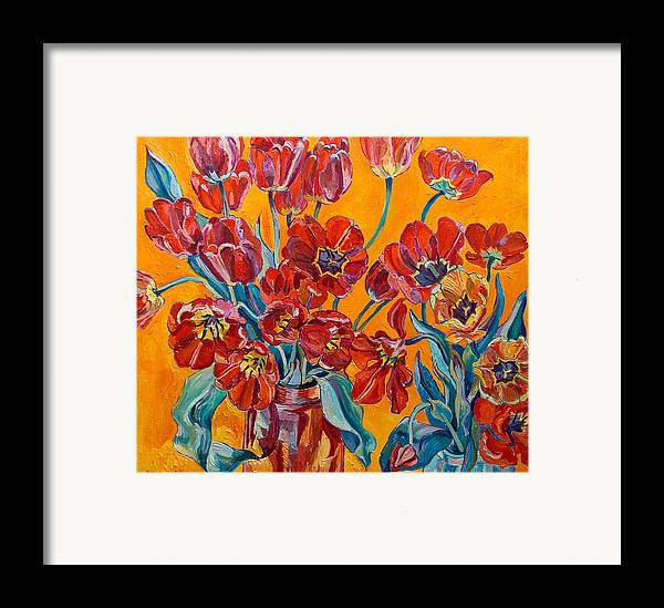 Still Life Framed Print featuring the painting Two Bunches Of Red Tulips by Vitali Komarov