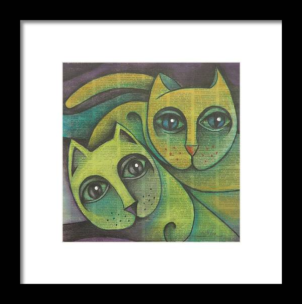 Sacha Circulism Circulismo Framed Print featuring the drawing Two Cats 2000 by S A C H A - Circulism Technique