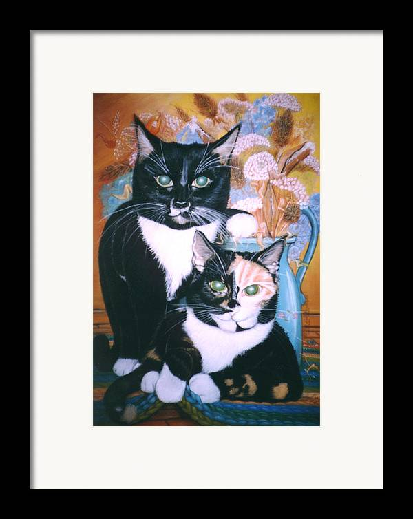Cats Framed Print featuring the painting Two Cats by Winifred Ann Weishampel
