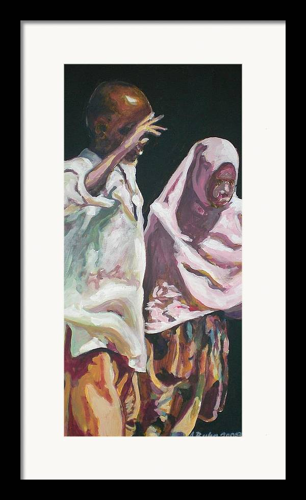 Africa Framed Print featuring the painting Two Children by Aleksandra Buha