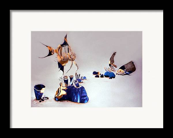 Temnograph Framed Print featuring the mixed media Two Cliff-beauties Pillage A Perch Nest by Mushtaq Bhat