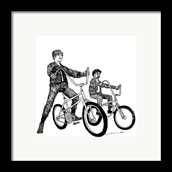 Drawing Framed Print featuring the drawing Two Cool Riders by Karl Addison