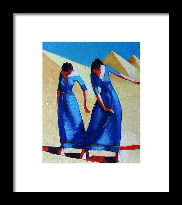 Figure Framed Print featuring the painting Two Dancers With Three Pyramids by Ihab Bishai