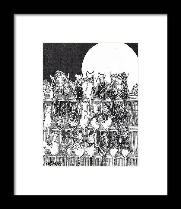 Cats Framed Print featuring the drawing Two Dozen And One Cats by Seth Weaver