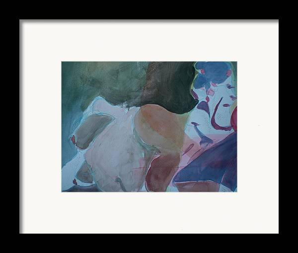 Nude Framed Print featuring the painting Two Figures by Aleksandra Buha