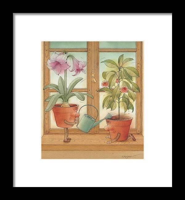 Flower Pot Kitchen Blosom Gardening Framed Print featuring the painting Two Flowerpots by Kestutis Kasparavicius