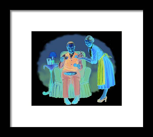 Retro Framed Print featuring the mixed media Two For Tea by Lash Larue