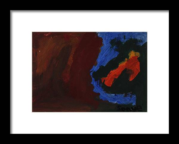 Abstract Framed Print featuring the painting Two Forms by Sonye Locksmith